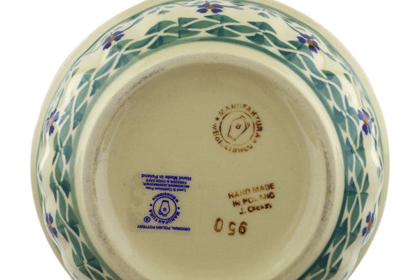 "Polish Pottery Bowl 6"" Lucky Blue Clover Theme"