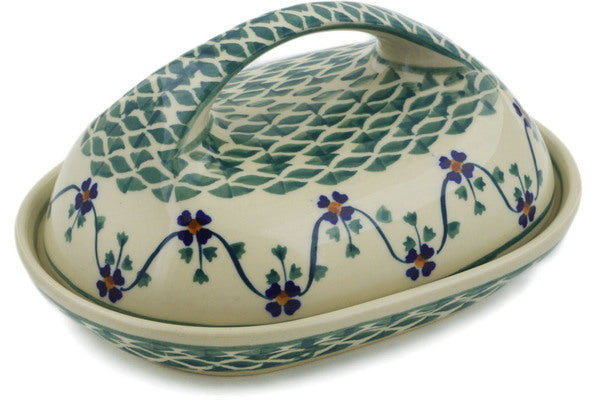 "Polish Pottery Butter Dish 7"" Lucky Blue Clover Theme"