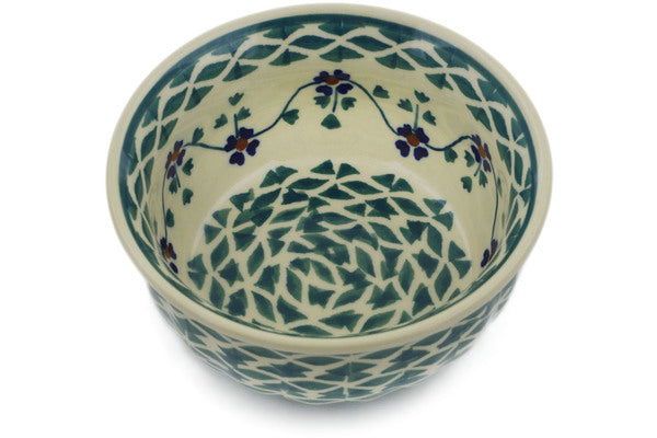 "Polish Pottery Bowl 4"" Lucky Blue Clover Theme"