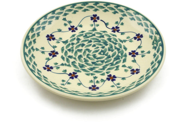 "Polish Pottery Plate 7"" Lucky Blue Clover Theme"