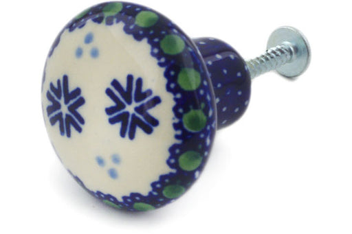 "Polish Pottery Drawer Pull Knob 1"" Falling Snowflakes Theme"