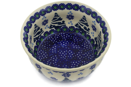 "Polish Pottery Bowl 4"" Falling Snowflakes Theme"
