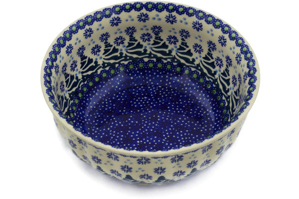 "Polish Pottery Bowl 7"" Falling Snowflakes Theme"