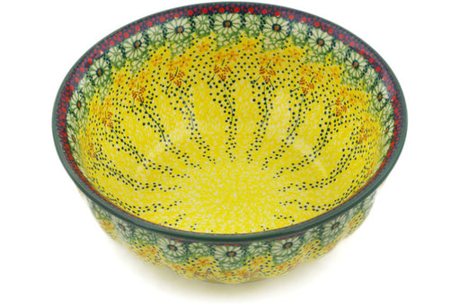 "Polish Pottery Bowl 9"" Sunshine Grotto Theme UNIKAT"