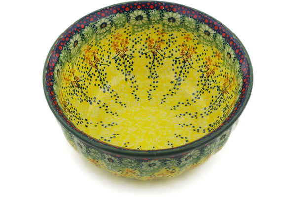 "Polish Pottery Fluted Bowl 8"" Sunshine Grotto Theme UNIKAT"