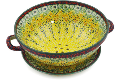 "Polish Pottery Colander with Plate 11"" Sunshine Grotto Theme UNIKAT"
