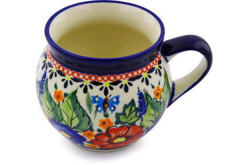 Polish Pottery Bubble Mug 7 oz Spring Splendor Theme UNIKAT