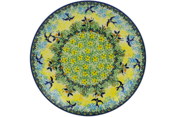 "Polish Pottery Plate 8"" Birds In The Sunset Theme UNIKAT"