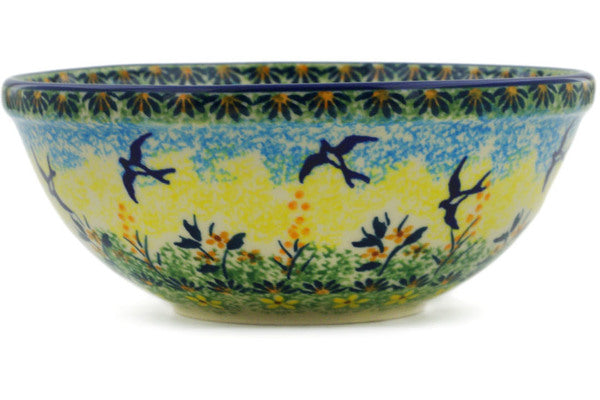 "Polish Pottery Bowl 7"" Birds In The Sunset Theme UNIKAT"