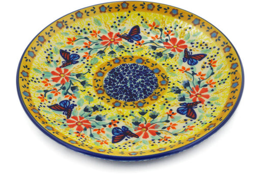"Polish Pottery Plate 7"" Butterfly Summer Garden Theme UNIKAT"
