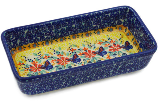 "Polish Pottery Rectangular Baker 8"" Butterfly Summer Garden Theme UNIKAT"