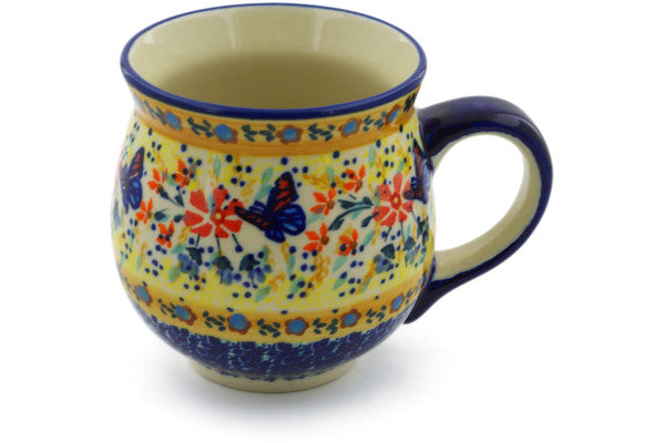 Polish Pottery Bubble Mug 19 oz Butterfly Summer Garden Theme UNIKAT