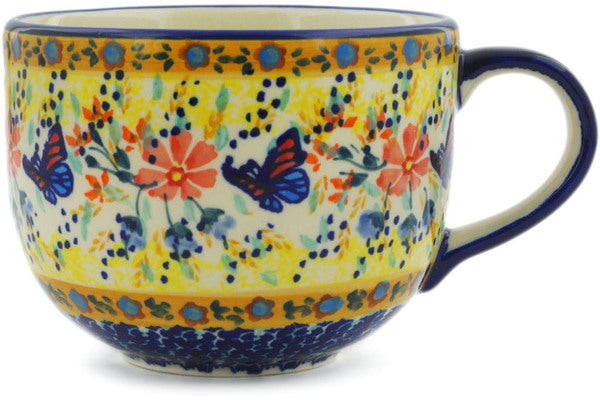 Polish Pottery Cup 17 oz Butterfly Summer Garden Theme UNIKAT