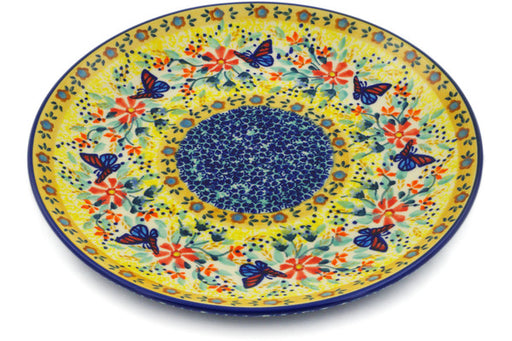 "Polish Pottery Plate 8"" Butterfly Summer Garden Theme UNIKAT"