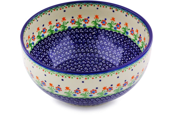 "Polish Pottery Bowl 9"" Spring Flowers Theme"