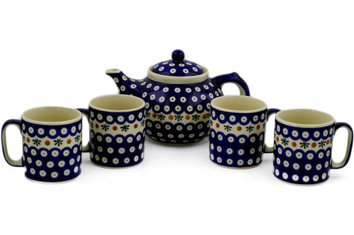 Polish Pottery tea coffee set for 4 Mosquito Theme