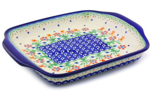"Polish Pottery Tray with Handles 8"" Spring Flowers Theme"