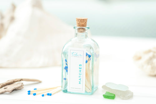 apothecary match bottle with blue match tips