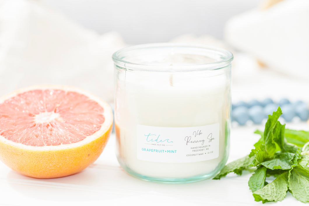 10oz recycled glass candle with wooden wick and cork lid grapefruit + mint