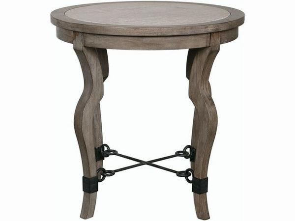 Uttermost 25970 Blanche Lamp Table W/Travertine Top 25 W X 26 H X 25 D