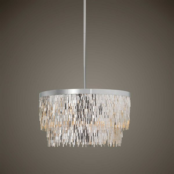 "Uttermost Millie 6 Lt Chrome Pendant Light  23""D  NEW"