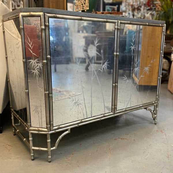 Uttermost  Handley 149900 Mirrored & Silver Leaf Bamboo Cabinet  NEW