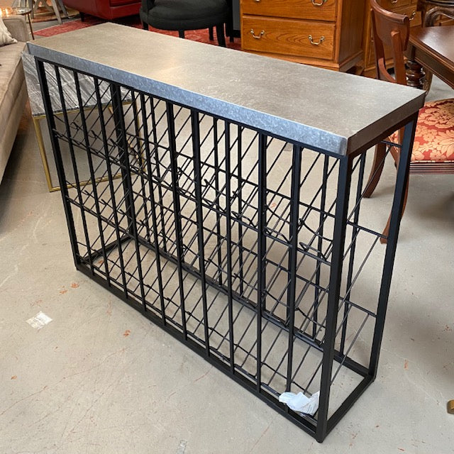 Wavertree Black/Galvanized Steel Wine Rack 47x13x37