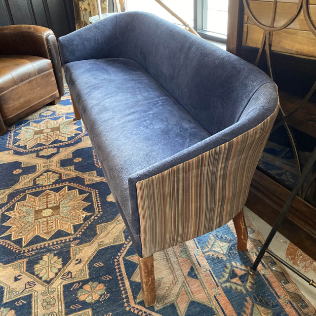 Reupholstered Vintage Sofa In Navy Suede & Striped Leather 67x29x24