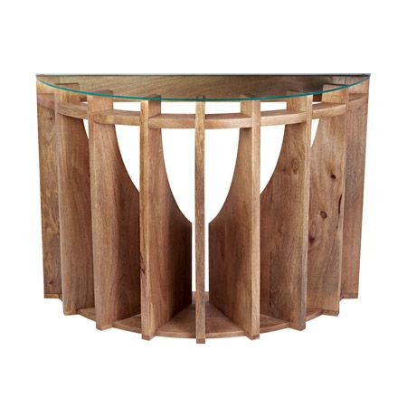 Wooden Sundial Console Table (NEW) 42x16x30