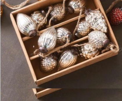box of 2 inch silver mercury ornaments