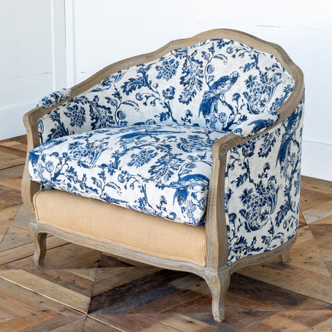 French Bluebird Toile Settee
