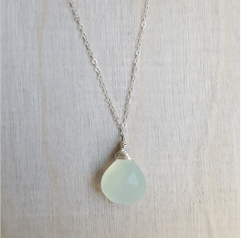 Gemstone Solitaire Necklace- Sterling Silver - Nest Gifts