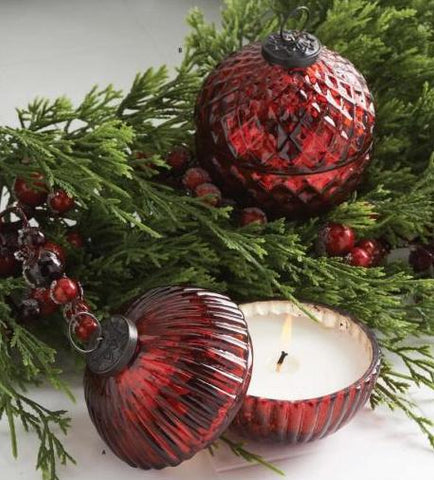 Filled Lidded Mercury Glass Ornament Candles - Nest Gifts