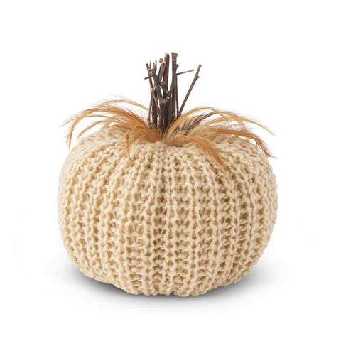 "7.5"" Cream Pumpkin with Wood Stem and Feathers - Nest Gifts"