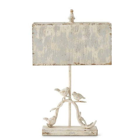 "27"" White Washed Metal Birds Lamp w/Light Blue Rectangle Shade - Nest Gifts"