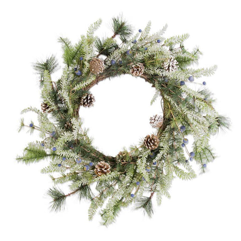Snowy pinecones and blueberries wreath