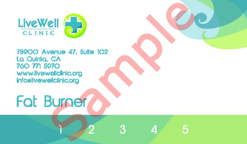 5 pack B12 Fat Burner Injections Punch Card