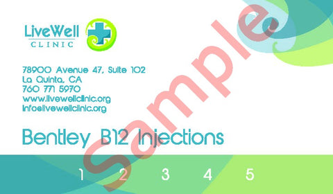 5 pack B Essentials B12 Injections Punch Card