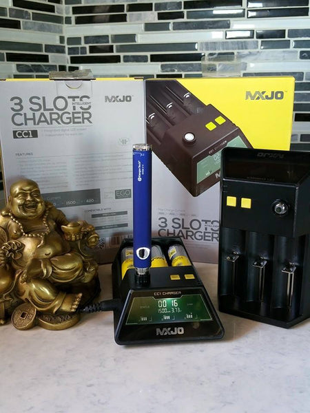 MXJO CC1 3 bay smart charger subohm battery The Vaping Buddha South San Francisco vape shop located in San Mateo County California SFO