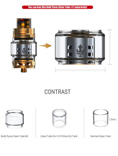 Smok TFV12 Prince Replacement Bulb Pyrex Glass #2 version (8ml)