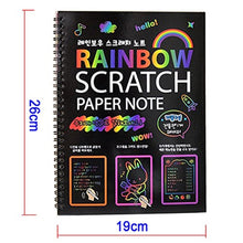 Load image into Gallery viewer, Black Large Magic Color Rainbow Scratch Paper Notebook