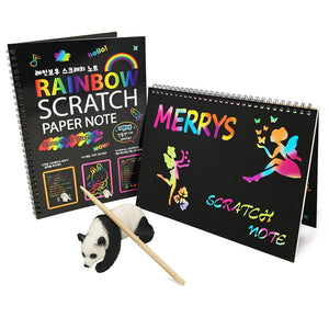Black Large Magic Color Rainbow Scratch Paper Notebook