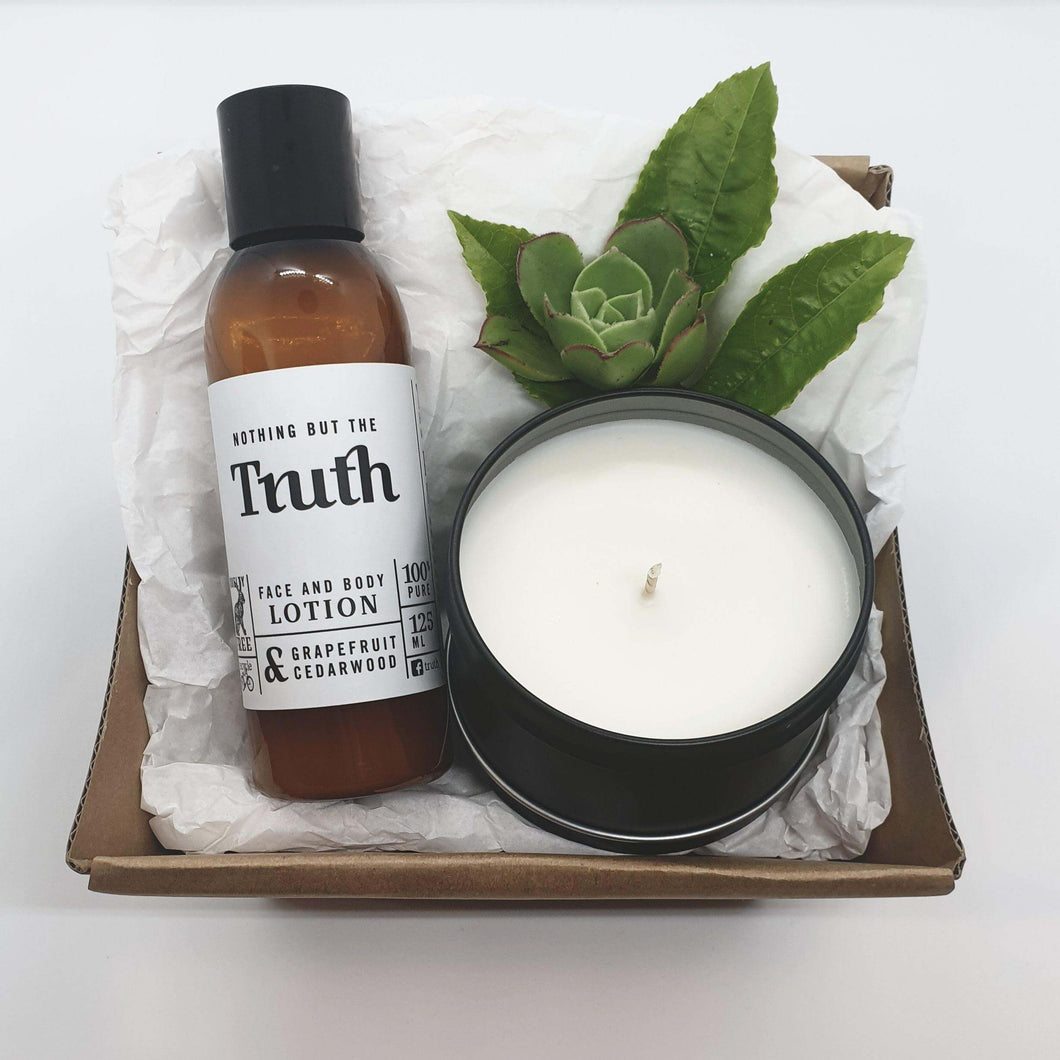 Grapefruit & Cedarwood Face & Body Lotion | Bergamot & Cedarwood or Coconut & Lime Candle | Gift Pack