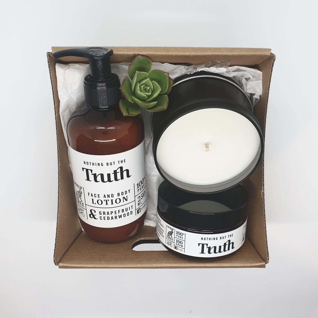 Grapefruit + Cedarwood Face + Body Lotion | Bergamot + Cypress Face + Body Scrub | Australian Bush or Coconut + Lime Candle | Gift Pack - Truth Cosmetics