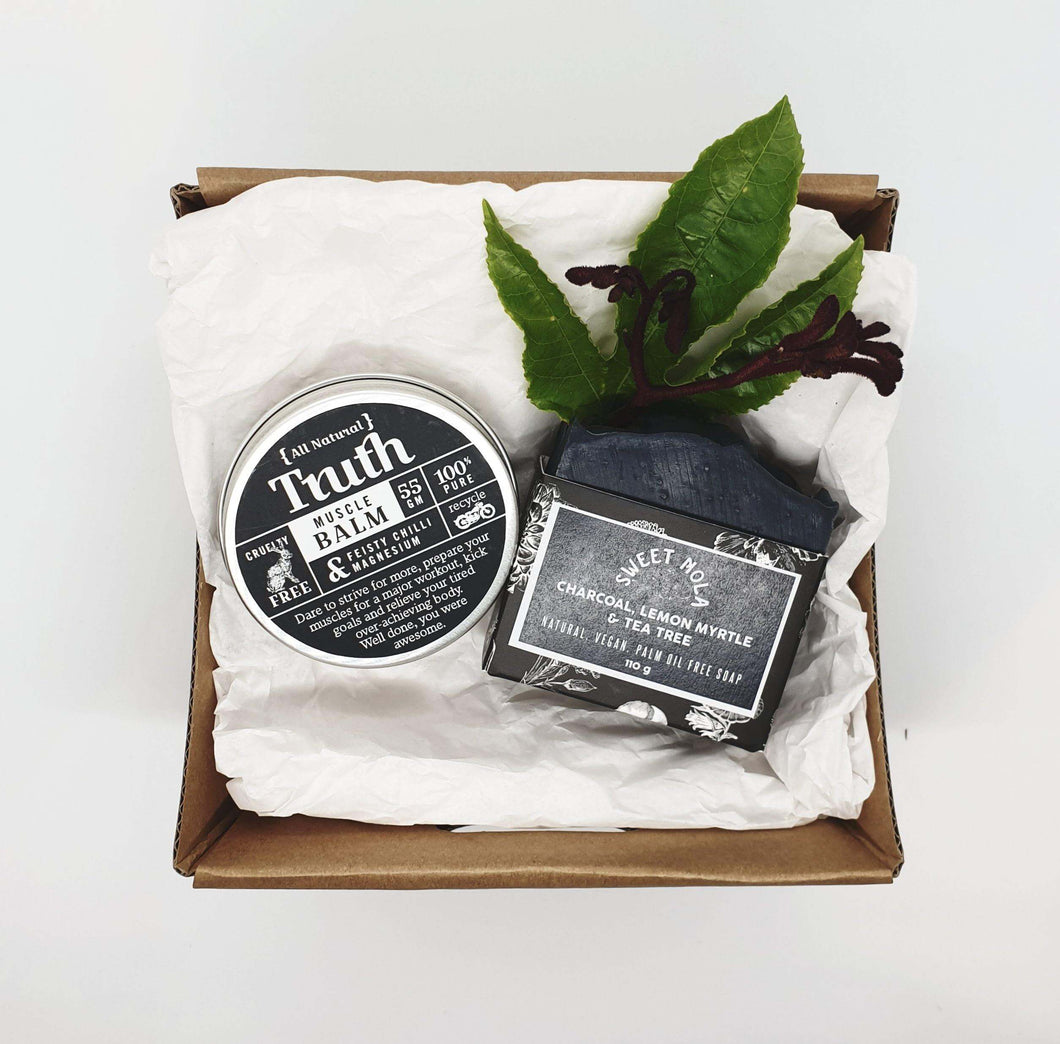 Gift pack of Feisty Chilli & Magnesium Muscle Balm and Essential Oil Soap.