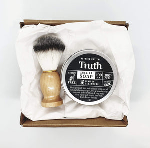 Juniper & Cedarwood Shaving Soap | Vegan Shaving Brush | Gift Pack - Truth Cosmetics