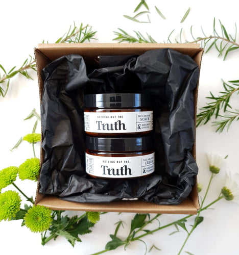 Scrub and Glow Pack | Bergamot & Cypress Face & Body Scrub 100gm |Rosewood & Chamomile Face & Body Cream 100gm - Truth Cosmetics