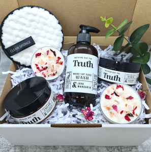 Ultimate Spa Pack | Java + Mandarin Face Wash | Bergamot + Cypress Face + Body Scrub | Rosewood + Chamomile Face + Body Cream | Facial Cleansing Mitt | Rose Quartz Crystals Soy Wax Candles