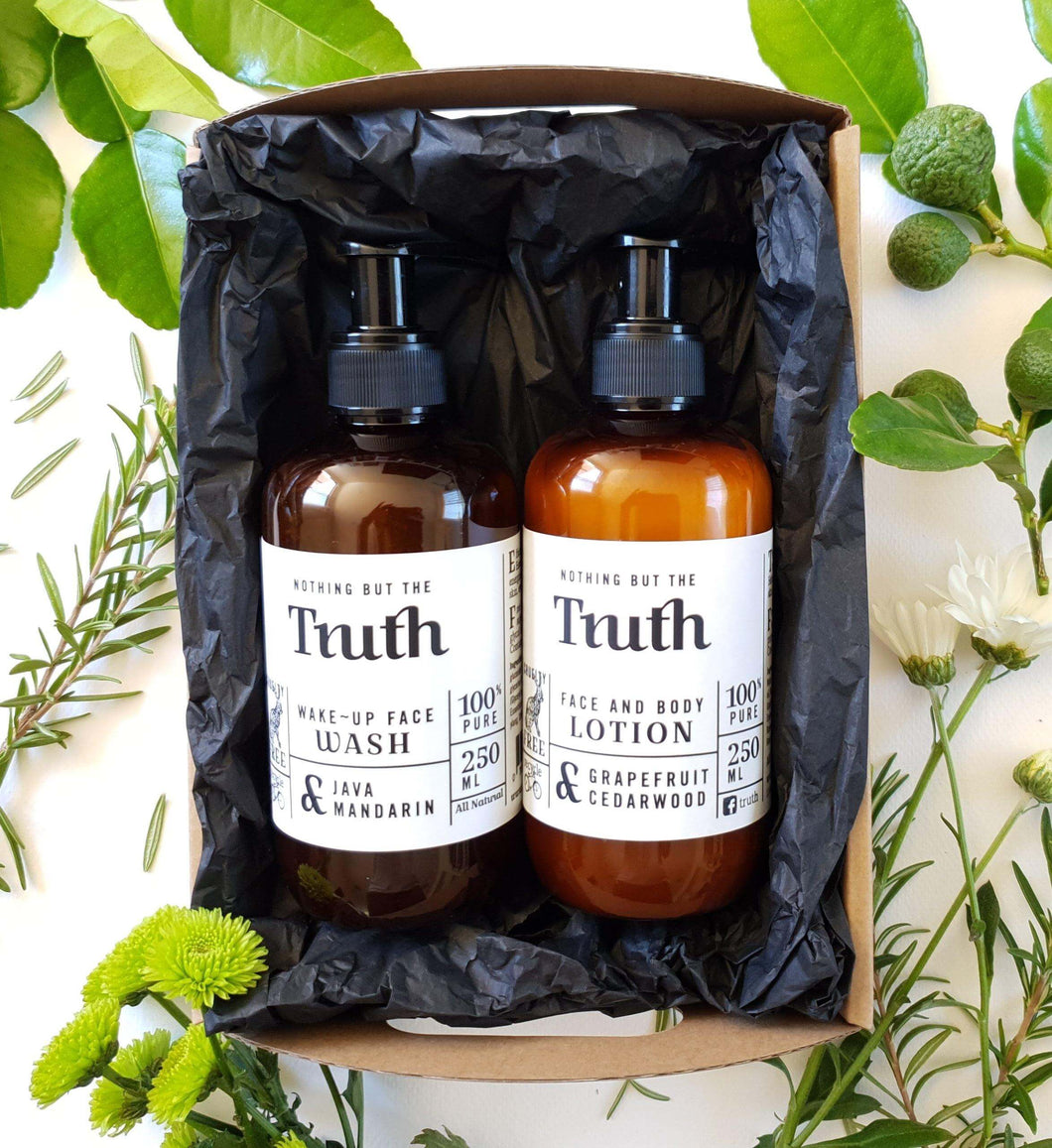 Wake Up Pack | Grapefruit & Cedarwood Face & Body Lotion |  Java & Mandarin Face Wash | Gift Pack - Truth Cosmetics