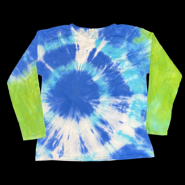 Long Sleeve Tie dye Crew L Blue Burst